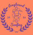 Longboard surfing typography t-shirt graphics vector image vector image
