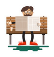 man reading newspapers on bench with coffee in vector image vector image