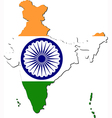 map india with national flag vector image vector image