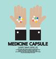 Medicine Capsule In Hand vector image vector image