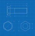 metal bolt technical drawing on blueprint vector image vector image
