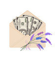 one hundred dollar banknotes in open beige vector image vector image
