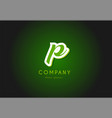 p alphabet letter logo green 3d company icon vector image vector image