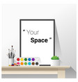 poster mock up with empty frame and art supplies vector image vector image