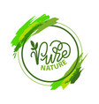 pure nature lettering and green calligraphy logo vector image vector image