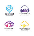 set logos and icons music and audio vector image
