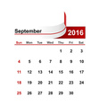 simple calendar 2016 year september month vector image vector image