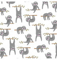 sloth pattern on white background vector image vector image