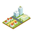 small town quarter isometric icon vector image
