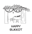 Sukkah with table food and Sukkot symbols vector image vector image