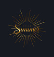 summer retro label with light rays vector image vector image