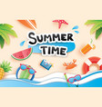 summer time with paper cut symbol icon for vector image vector image