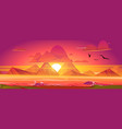 sunset on ocean red sky with sun going down vector image vector image