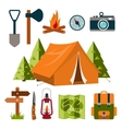 Tourist equipment Camping vector image