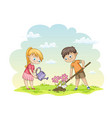two children are planting flowers vector image vector image