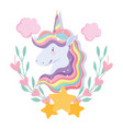 unicorn with rainbow hair stars clouds floral vector image vector image