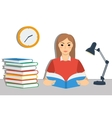 Young brown hair girl student reading a book vector image