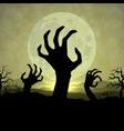 zombi hands in halloween night on moon vector image