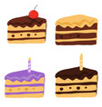tasty cake slices with frosting and cream vector image