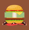 businessmen under hamburger crisis vector image