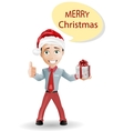Funny boy and Christmas isolated on white vector image