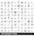 100 banquet icons set outline style vector image vector image