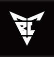 bl logo monogram with back drop shape logo design vector image vector image