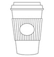 black and white tea coffee take away cup icon vector image