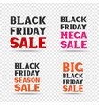 black friday sale message set vector image vector image