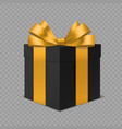 black gift box with gold bow 3d vector image vector image