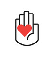 black line hand symbol holding red heart sign vector image vector image