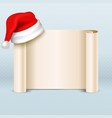 blank paper parchment scroll with santa claus red vector image