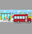 bus stop public transport flat vector image vector image
