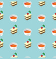cakes and tea seamless pattern vector image