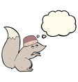 cartoon squirrel wearing hat with thought bubble vector image vector image