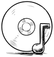 Cd and music note vector image