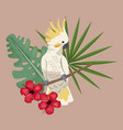 cockatoo bird exotic hibiscus palm leaves vector image vector image