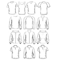 Collection of men clothes outline templates vector image vector image