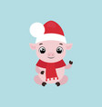 cute smiling little pig waving hand vector image vector image