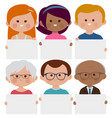diverse group people holding blank placards vector image
