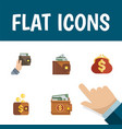 flat icon wallet set of money payment purse and vector image vector image