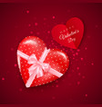 gift in hearts shaped box with pink silk bow vector image