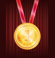 gold award first place medal with ribbon vector image vector image