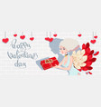 holiday card to the day of saint valentine with vector image vector image