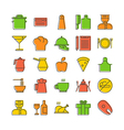 Icon set for restaurant in thin line style with vector image vector image