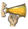 loudspeaker speech color sketch engraving vector image