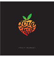 love fruit market logo or fresh fruit emblem vector image