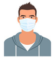 man in medical mask for coronavirus or air vector image vector image