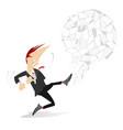 man kicks a big ball of papers concept vector image