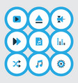 music icons colored set with audio mixer eject vector image vector image